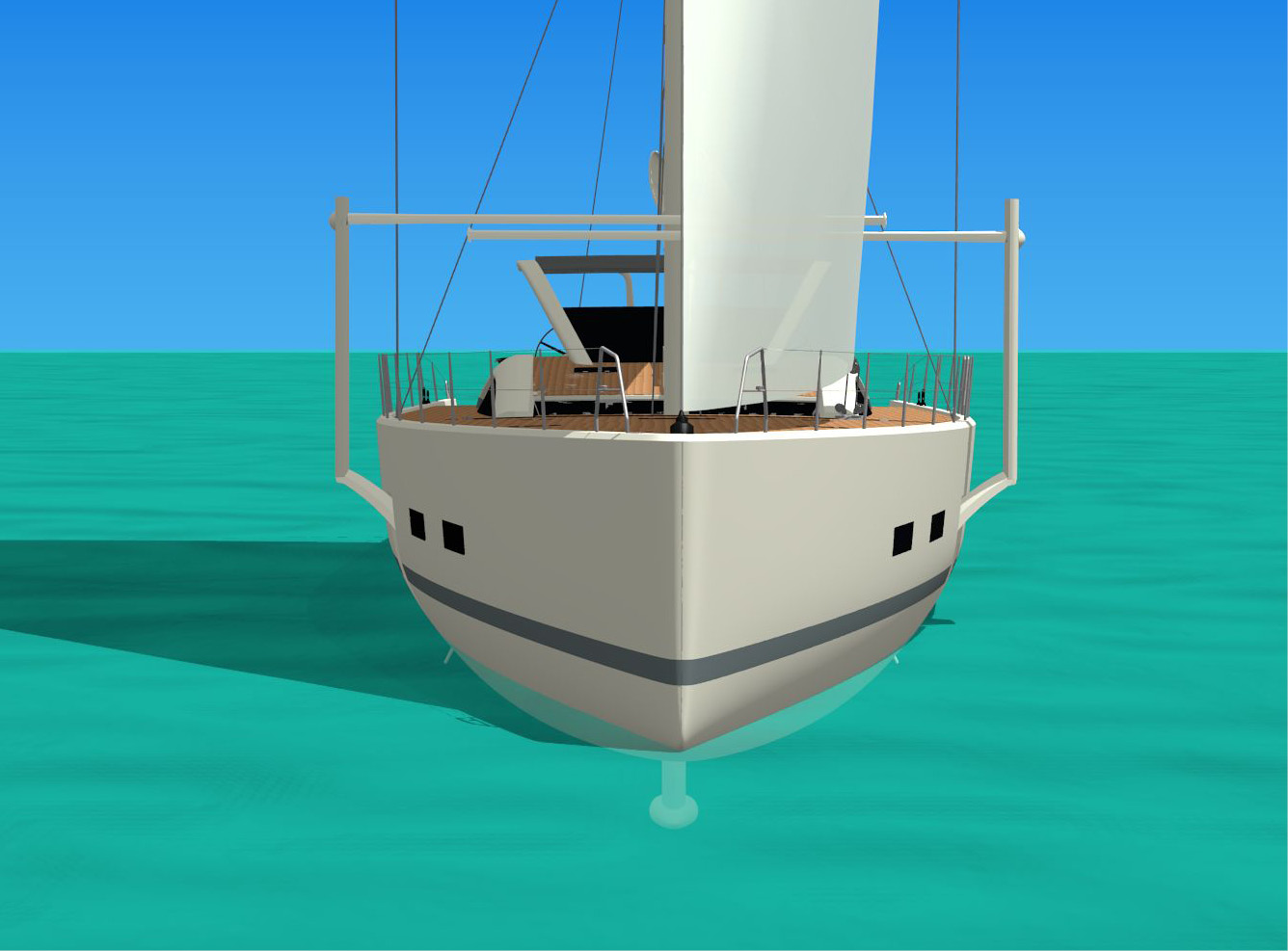 In aft and broad winds you will be able to remove both SBS wings from the water keeping them up or in horizontal position. Wet surfaces and drags will be kept to a minimum. If the skipper of a semi displacement sailboat hull wants to get into a planing mode, using a touch of a finger on the control panel allows the lower leeward wing to increase lift and stability. By reducing displacement and lifting the midship/bow sections, the vessel will increase speed, getting into the planing mode.