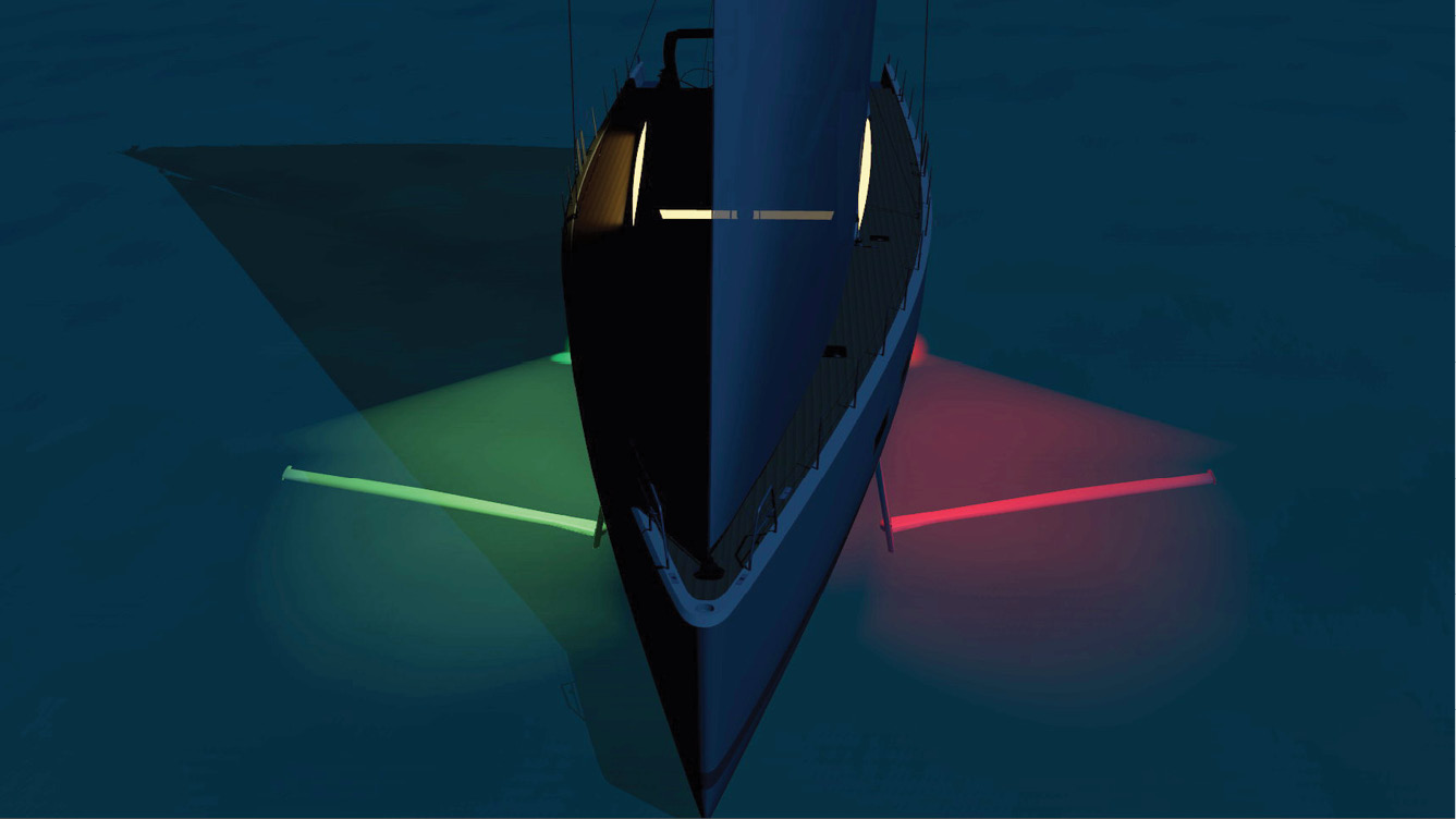 At  night, even under sail, the lift wing can be kept illuminated by hull lights or, if preferred, turned off  to see the natural spectacular light show performed by the plankton luminescence. A Free  light show all night long!